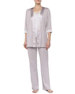 Hanro Fernanda Satin-Trim Robe, Long Pajama Pants & Filomena Tank Top