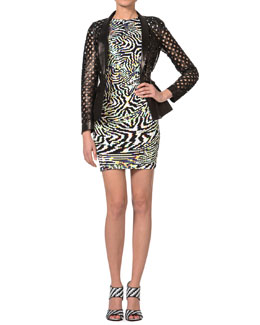 Just Cavalli Lattice-Cut Leather Jacket & Psychedelic Zebra-Print Cap-Sleeve Dress