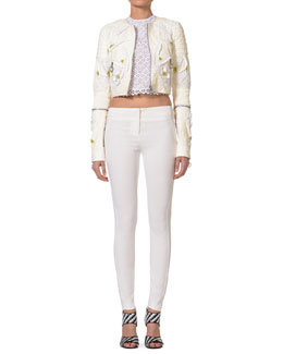 Just Cavalli Embroidered Leather Jacket, Sleeveless Lace Crop Top & Slim Viscose Stretch Pants