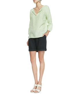 Eileen Fisher Handkerchief Linen Box Top & Organic Linen City Shorts