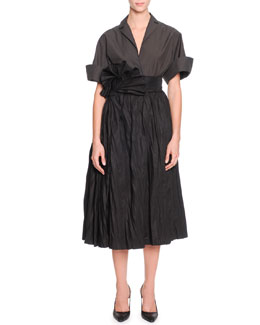 Bottega Veneta Short-Sleeve Large-Cuff Blouse & Full A-Line Skirt with Fanned Belt