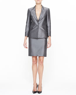 Alexander Wang Suiting Blazer & High Waist Pencil Skirt with Sheen
