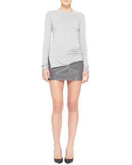Alexander Wang Cashmere-Silk Pullover with Side Slits & Printed Liquid Miniskirt