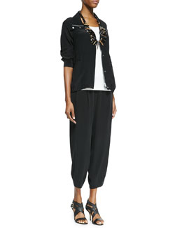 Eileen Fisher Silk Crepe de Chine Jacket, Silk Jersey Long Slim Camisole & Silk Drawstring Cropped Pants, Women's