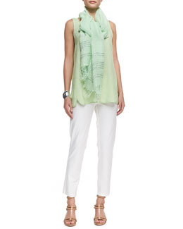 Eileen Fisher Handkerchief-Linen Long Tank Top, Ankle Pants & Sequined Stripe Linen Scarf