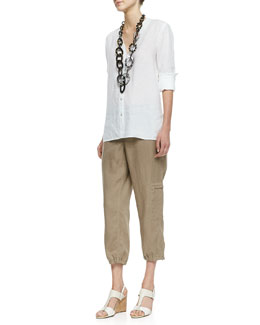 Eileen Fisher Handkerchief Linen V-Neck Shirt & Organic Linen Cargo Ankle Pants