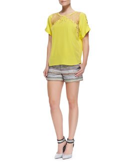Rebecca Minkoff Evita Cutout-Shoulder Top & Andy Pattern-Stripe Shorts