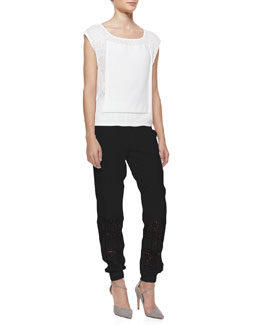 Rebecca Minkoff Mesh Boat-Neck Cap-Sleeve Top & Hemmer Cutout Silk Pants