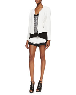 Rebecca Minkoff Miles Silk Zip-Front Jacket, Gia Chevron-Patterned Tank Top & Leo Combo Lace-Detail Shorts