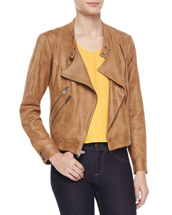 Morgan Draped Faux-Leather Jacket and Paige Sleeveless High-Low Top