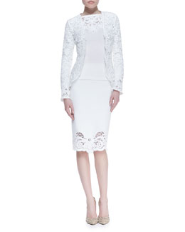 Oscar de la Renta Embroidered Lace Jacket, Crochet Trim Knit Bell-Sleeve Pullover & Pencil Skirt