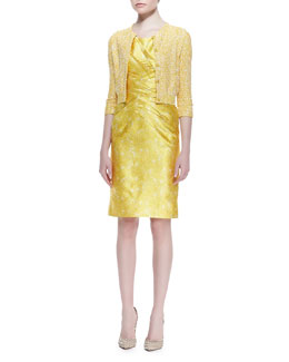 Oscar de la Renta Micro Sequined Knit Cardigan & Sleeveless Feather-Print Dress