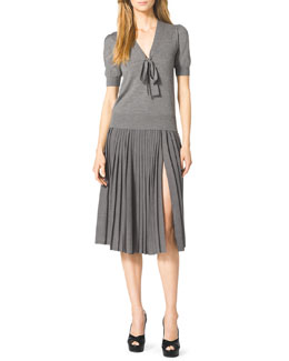 Michael Kors  Puff-Sleeve Tie Sweater & Pleated Wool Skirt
