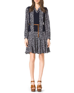 Michael Kors  V-Neck Sweater Vest & Blossom-Print Belted Dress