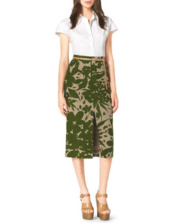 Michael Kors  Stretch-Cotton Shirt, Floral-Print Linen Pencil Skirt & Skinny Leather Loop Belt