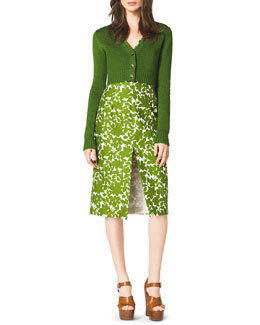 Michael Kors  Cropped Cashmere Cardigan & Floral-Print Cotton Dress