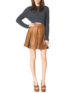 Michael Kors  Cropped Knit Sweater & Flared Python Skirt