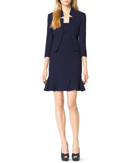 Michael Kors  Inverted-Collar Jacket, Cashmere Scoop-Neck Top & Stretch-Crepe Flounce Skirt