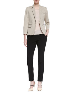 Theory Icon Fine Twill Button Blazer, Boat-Neck Everyday Tee & Slim Stretch-Wool Pants