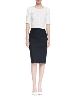 Theory Icon Eyelet Zip Crop Top and Super Jean Pencil Skirt