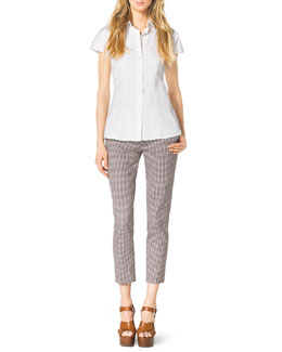 Michael Kors  Stretch-Cotton Shirt & Check Stretch-Cotton Skinny Pants