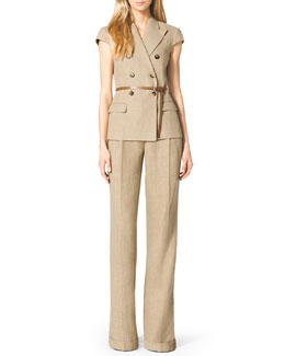Michael Kors  Linen Double-Breasted Jacket, Cuffed Wide-Leg Trousers & Skinny Leather Loop Belt