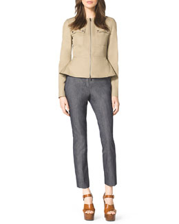 Michael Kors  Twill Peplum Jacket, Ribbed Stretch Tank & Samantha Skinny Denim Pants