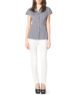 Michael Kors  Check Stretch Poplin Shirt & Stretch-Twill Zipper Pants