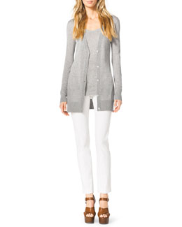 Michael Kors  Long Knit Cardigan, Relaxed Slub Tank & Stretch-Twill Zipper Pants