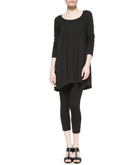 Joan Vass Scoop-Neck Tunic & Cropped Leggings, Petite