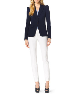 Michael Kors  Puff-Shoulder Wool Blazer, Striped Silk Tie-Neck Blouse & Stretch-Twill Zipper Pants