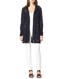 Michael Kors  Perforated Suede Anorak, Ribbed Stretch Tank & Stretch-Twill Zipper Pants