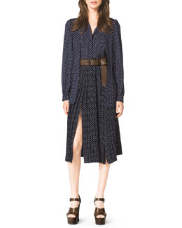 Michael Kors  Polka-Dot Tie-Neck Blouse, Polka-Dot Pleated Skirt & Leather Flip-Tie Belt