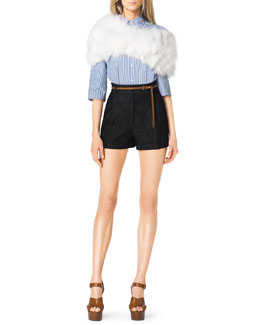 Michael Kors  Striped Wide-Sleeve Blouse, Pleated Denim Shorts