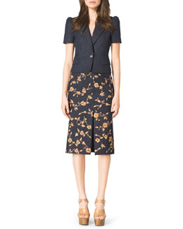 Michael Kors  Short-Sleeve Blazer & Embroidered Wool-Blend Skirt