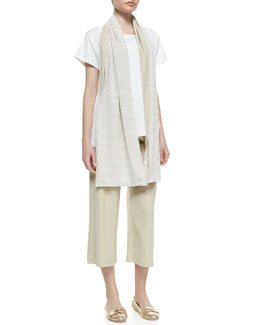 Joan Vass Easy Jersey One-Pocket Tee, Striped Jersey Scarf & Cropped Wide-Leg Pants