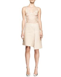 Reed Krakoff Sleeveless Ruched Chiffon Top and Asymmetric Leather Slit Skirt