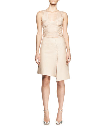 Sleeveless Ruched Chiffon Top and Asymmetric Leather Slit Skirt