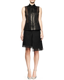 Reed Krakoff Embroidered Mesh Sleeveless Top and Asymmetric Skirt