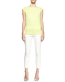 Reed Krakoff Cap-Sleeve Leather-Trim Sweater and Cropped Tuxedo-Stripe Pants