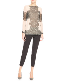 Tamara Mellon Long-Sleeve Peekaboo Lace Blouse & Cropped Trouser Pants