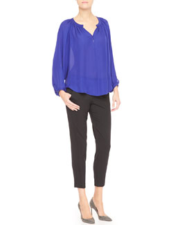 Tamara Mellon Long-Sleeve Crepe de Chine Blouse & Cropped Trouser Pants