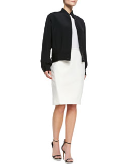 Tamara Mellon Silk Bomber Jacket, Long-Sleeve Cashmere Sweater & Slim Paneled Leather Skirt