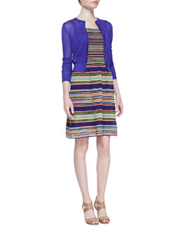 M. Missoni Cropped Solid Cardigan & Ribbon-Stripe Knit Tank Dress