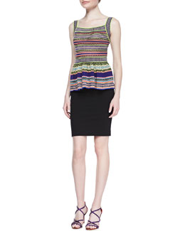 M. Missoni Ribbon-Stripe Knit Peplum Top  & Ponte Pencil Skirt