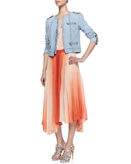 Alice + Olivia Cam Round-Neck Denim Jacket, Leather-Strap Chiffon Tank & Norris Ombre Uneven Chiffon Skirt