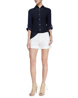Alice + Olivia Beau Flare-Back Blouse & Cady Cuffed Shorts