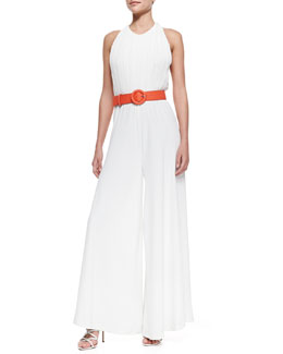 Alice + Olivia Gab Pleated Wide-Leg Halter Jumpsuit & Faux-Leather Belt with Round Buckle