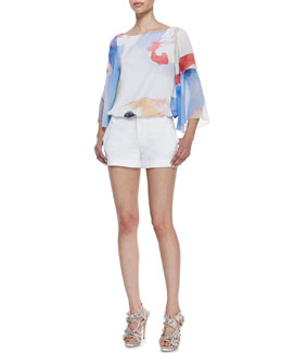 Alice + Olivia Josie Printed Butterfly-Sleeve Blouse & Cady Cuffed Shorts