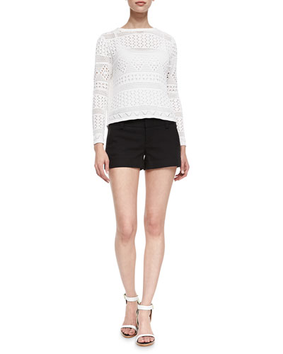 Alice + Olivia Dorie Cropped See-Through Knit Sweater & Cady Cuffed Shorts